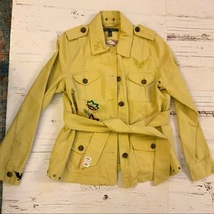 True meaning pale yellow embroidered denim jacket